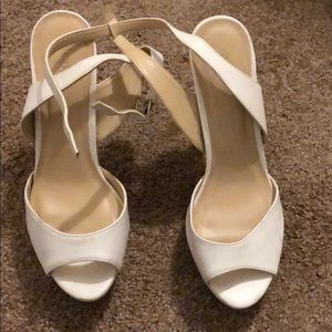 White ankle strap Charlotte Russe heels pumps